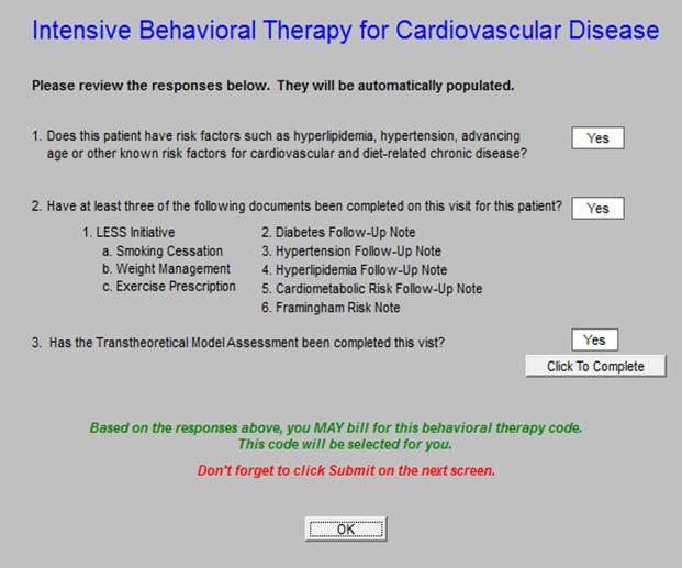 Intensive Behavioral Therapy (IBT) Obesity and Cardiovascular Disease Medicare Preventive Services